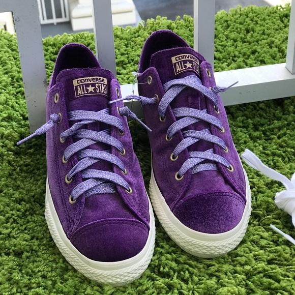 NWT Converse Ctas OX Night Purple Gold Velvet W AU 03b43de85